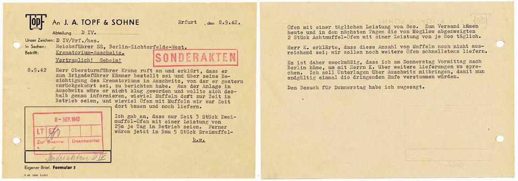 Служебная записка Курта Прюфера, сотрудника компании Topf und Söhne, которая строила печи для кремации в Освенциме